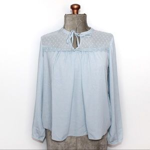 🎀3/$30 Suzy Shier Light Blue Sheer Blouse Small